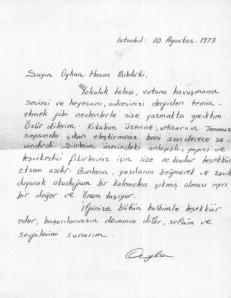 Ayla Oral'dan Bıldırki'ye Mektup